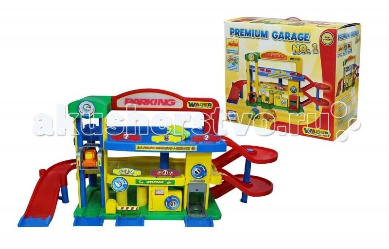 Wader Паркинг Гараж №1 Премиум с автомобилямиПаркинг Гараж №1 Премиум с автомобилямиWader Паркинг Гараж №1 Премиум с автомобилями, может стать прекрасным подарком для любого ребенка.  Особенности: Развивает у детей логику, моторику и интерес к моделированию различных ситуаций, а также станет местом где дети и родители играют вместе.  В сочетании с дорожными знаками, заправкой, грузовиками можно создать полноценный городок который станет любимым местом игры для вашего ребенка! Гараж является 3-х уровневым.  Для подъема или спуска на этаж можно использовать лифт или серпантинную дорогу.  В нижней части Паркинга установлены: автомойка, автосервис, смотровая яма, бензоколонка.  В верхнюю часть с надписью Детский 3-х уровневый гараж № 1 с машинками , может стать прекрасным подарком для любого ребенка.  Развивает у детей логику, моторику и интерес к моделированию различных ситуаций, а также станет местом где дети и родители играют вместе.  А в сочетании с дорожными знаками, заправкой, грузовиками можно создать полноценный городок который станет любимым местом игры для вашего ребенка! Гараж является 3-х уровневым.  Для подъема или спуска на этаж можно использовать лифт или серпантинную дорогу.  В нижней части Паркинга установлены: автомойка, автосервис, смотровая яма, бензоколонка.  В верхнюю часть с надписью Parking установлена подсветка, которая питается от 2-х батареек АА. В комплект гаража входит: серпантинные лестницы, здание паркинга, знаки, заправка, автомастерская, лифт, 2 машинки, дорожные коммуникации и многое другое.<br>