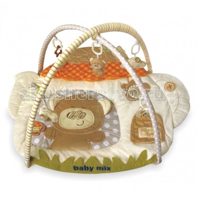 Развивающий коврик Baby Mix МишкаМишкаРазвивающий коврик Мишка - это целая игровая площадка, в которой есть все необходимое для занимательной игры и развития малыша. Он будет интересен как совсем маленьким крошкам, так и подросшим карапузам. Приятные тона игрового поля, изображения веселых зверюшек, подвесные игрушки - вот те особенности, которые привлекают внимание ребенка.  Особенности: довольно большое игровое поле на игровом поле есть несколько разно-текстурных элементов кроха учится фокусировать взгляд на предмете малыш учится удерживать в руках предметы ребенок получает знания о пространственном положении вещей мелкие детали и разно-фактурные элементы стимулируют развитие мелкой моторики и тактильного восприятия яркие тона стимулируют развитие зрения  Размер: 80 х 90 см<br>