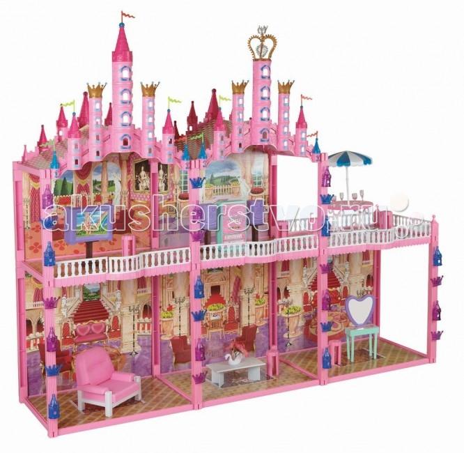 1 Toy Кукольный домик Замок Красотка (187 деталей 5 комнат)Кукольный домик Замок Красотка (187 деталей 5 комнат)Дома для кукол - одна из самых любимых игрушек у девочек!   Кукольный домик 1 Toy Замок для Кукол Красотка - огромный двухэтажный пятикомнатный дом с терассой на втором этаже, украшенный декоративными башнями, а также украшениями в виде маленьких башенок и корон.  У домиков 1 Toy Красотка отсутствует передняя стенка, что позволяет с лёгкостью расставлять мебель и мелкие игрушки внутри. Модель очень проста в сборке, рассчитана на кукол размером 29 см.  В состав комплекта входят 187 элементов: детали для сборки кукольная мебель  Куклы в комплект не входят !<br>