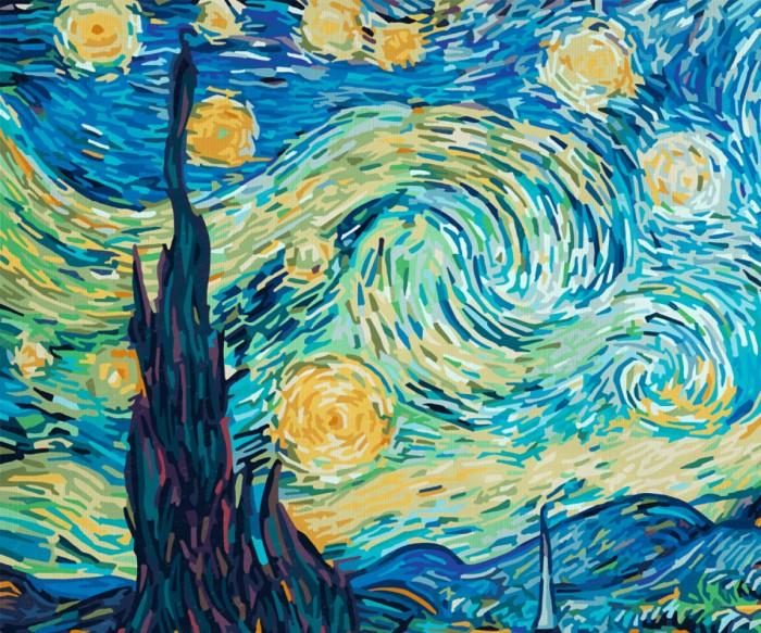 Schipper Картина по номерам Звездная ночь (Ван Гог) 50х60 смКартина по номерам Звездная ночь (Ван Гог) 50х60 смКартина по номерам Schipper репродукция Звездная ночь Ван Гог   Особенности:    Готовая картина выглядит как настоящее произведение искусства.  Картина раскрашивается без смешивания красок.  Все необходимые цвета красок есть в комплекте. Просто закрашивайте участки красками с соответствующим номером.  В набор также входит фактурная картонная основа с пронумерованными контурами, кисть и контрольный лист, на котором вы можете потренироваться, прежде чем переходить к раскрашиванию основного листа.  Акриловые краски в данном наборе содержатся в очень плотно закрытых контейнерах. Благодаря этому, краски доходят до покупателя, сохранив свои свойства.   Кол-во цветов: 36 Размер: 50х60 см<br>