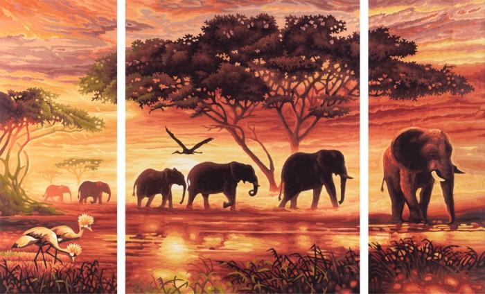 Schipper Картина по номерам Триптих Африканские слоны 50х80 смКартина по номерам Триптих Африканские слоны 50х80 смКартина по номерам Schipper Триптих Африканские слоны   Особенности:    Основа для картины имеет льняную структуру, поэтому готовая картина выглядит как настоящее произведение искусства.  Картина раскрашивается без смешивания красок.  Все необходимые цвета красок есть в комплекте. Просто закрашивайте участки красками с соответствующим номером.  В набор также входит фактурная картонная основа с пронумерованными контурами, кисть и контрольный лист, на котором вы можете потренироваться, прежде чем переходить к раскрашиванию основного листа.  Акриловые краски в данном наборе содержатся в очень плотно закрытых контейнерах. Благодаря этому, краски доходят до покупателя, сохранив свои свойства.   Кол-во цветов: 26 Размер: 50х80 см<br>