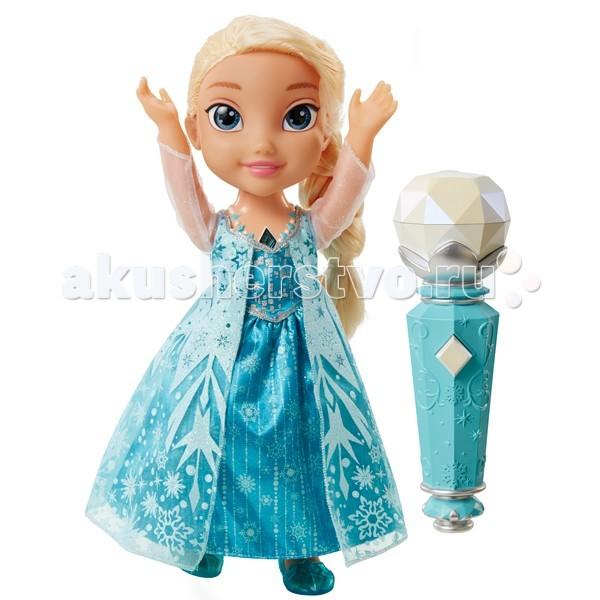Disney Интерактивная кукла Эльза Холодное Сердце поющая с микрофоном 310780Интерактивная кукла Эльза Холодное Сердце поющая с микрофоном 310780Потрясающая интерактивная кукла Эльза Холодное Сердце поющая с микрофоном 310780.  С этой куклой каждая девочка сможет почувствовать себя настоящей принцессой и спеть песню Отпусти и забудь на разных языках. Чтобы активировать куклу необходимо дотронуться до волшебного амулета на шее куклы и поднести микрофон к её рту.  В комплект входит кукла, высотой 30 сантиметров, туфельки, платье, микрофон и подробная инструкция на несколько языках.  Для работы куклы требуется три мизинчиковые батарейки (стандарт AAA), которые входят в комплект.<br>