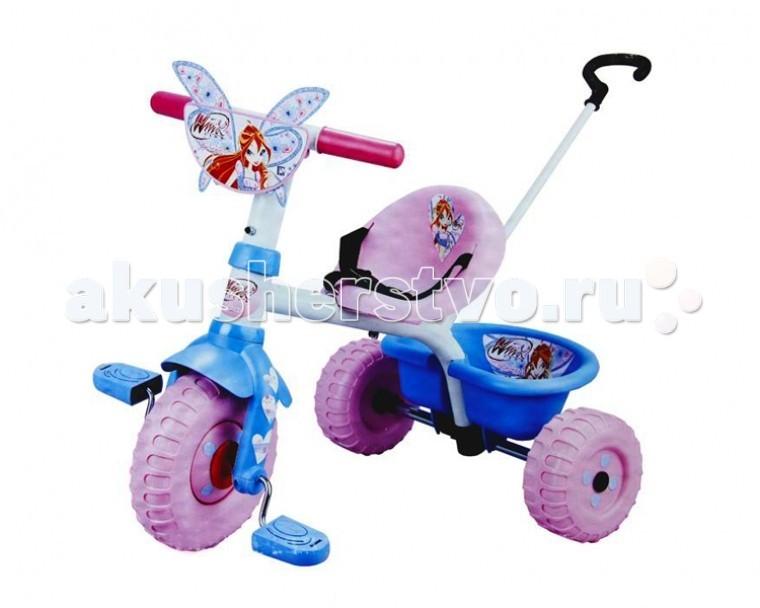 Велосипед трехколесный Smoby WinxWinxТрехколесный велосипед Smoby Winx традиционно является одним из первых транспортных средств ребенка. Именно поэтому надо обратить особое внимание на комфорт и надежность.  Велосипеды фирмы Smoby отвечают этим требованиям.   Особенности:    3 пластиковых колеса;   пластиковый руль;   поворот руля на 30°C;   возможность фиксации руля;   пластиковые педали;   возможность фиксации педалей;   металлическая рама, ось задних колес и родительская ручка;   трехточечный ремень безопасности;   регулируемое сиденье (3 положения удаленности от руля);   родительская ручка;   съемная регулируемая подставка под ножки;   дополнительный поручень, для обеспечения безопасности ребенка;   сумка;   откидывающаяся корзинка для перевозки мелочей.    Размер: 56х71х47 см<br>