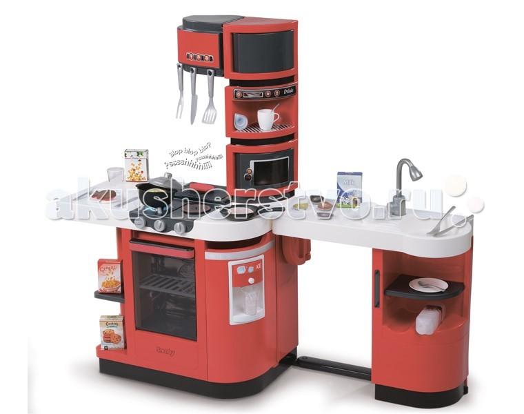 Smoby Кухня Cook Master RedКухня Cook Master RedSmoby Кухня Cook Master Red. Эта оборудованная кухня оснащена по последнему слову техники, о ней может мечтать любая хозяйка, ведь помимо самых необходимых вещей (плита, холодильник, микроволновая печь и мойка) вы найдете и предметы роскоши : кофемашина, машина для приготовления льда. А какой привлекательный современный дизайн!   Но это не единственный бонус. Эта кухня трансформируется!    Есть 2 варианта сборки.   Кухню можно поставить к стене, а можно сложить одну половину и сделать доступ к кухне с двух сторон.   У кухни множество подвижных деталей: открывающаяся духовка, дверца холодильника и верхний шкафчик.   В комплекте 36 аксессуаров.   Высота кухни 99 см   Особенности: дозатор для льда звуковая конфорка кастрюля с крышкой и спагетти мясо (эффект сырое-готовое) рыба (эффект сырое-готовое) блинчик (эффект сырое-готовое).  Для работы требуются батарейки: 1 х CR2032 (входят в комплект)<br>