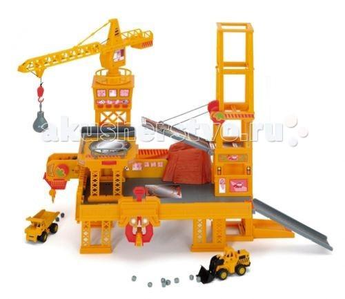 Dickie Строительная площадкаСтроительная площадкаСтроительная площадка Dickie + 2 авто  Играть с таким набором ребенку всегда будет интересно, ведь всегда можно придумывать новые сценарии и открывать новые возможности для игры.   Особенности:    башня строительного крана поворотная  крюк с грузом поднимается-опускается (управление ручное)  мост поднимается-опускается (ручное управление)  поворотная платформа для погрузки  функциональный лифт (ручное управление)  cтроительная башня со звуковыми эффектами: звуки работающей техники и сигнальный гудок  различные спуски и подъемы  конвеерная лента для погрузки  специальный зазват для камней    В наборе:    двухэтажная площадка с подъемным краном  самосвал и погрузчик  аксессуары - камни, трубы и др.   2 батарейки АА   Размер: 27х47х38 см<br>