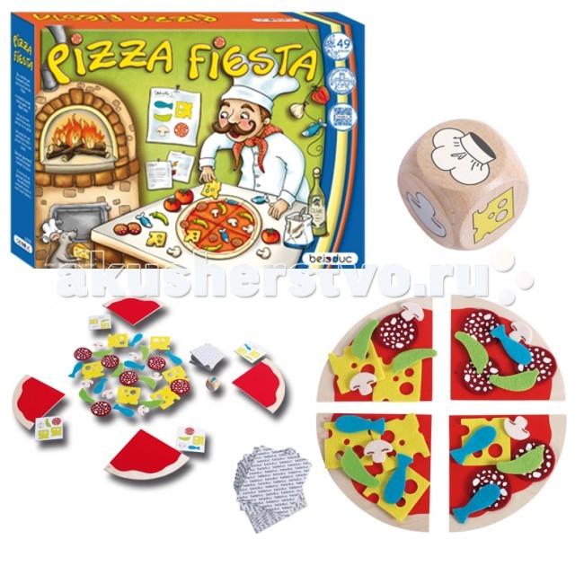 Beleduc Развивающая игра Пицца Фиеста 22705Развивающая игра Пицца Фиеста 22705Развивающая игра Пицца Фиеста 22705 Beleduc  Увлекательная и веселая игра для компании не только детей, но и родителей! Кто сможет собрать все ингредиенты для своей пиццы первым?  Игра развивает познавательные способности, ответную реакцию, визуальное восприятие, числа, величины, формы, цвета. Развивает речь и социальное поведение.  Включает 49 частей: 4 деревянных основания для пиццы, 6 рыб, 6 перцев, 6 грибов, 6 салями, 6 сыров, из текстиля, 14 игровых карт из картона, 1 кубик из дерева.  Все детали выполнены из высококачественных материалов, совершенно безопасных для маленьких детей.  Игры Beleduc идеально подходят для начального развития детей, задолго до того, как они идут в школу, но и просто для интересного времяпрепровождения. Игры Beleduc идеально подходят для совместной игры родителей и детей. Некоторые игры очень понравятся взрослым, которые с удовольствием втянутся в процесс игры.<br>