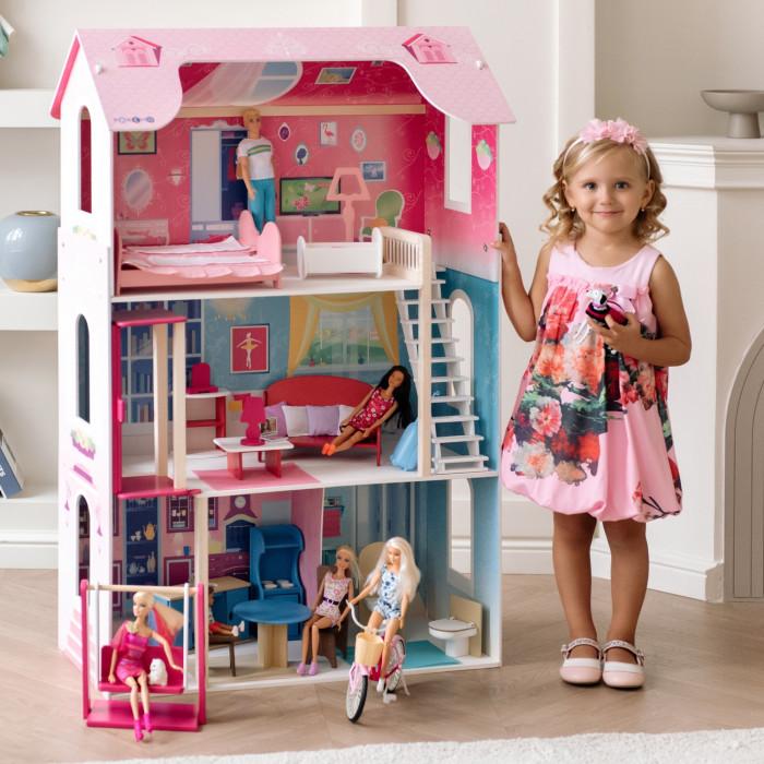 Paremo Кукольный домик для Барби МузаКукольный домик для Барби МузаКукольный домик Paremo Домик для Барби Муза - домик, выполненный в классическом для девичьей игрушки розовом цвете. Игрушку отличает яркий принт по дереву и использование премиального материала флок. Модификация: трехэтажный, четырехкомнатный, с лестницей, лифтом и качелями. Сделано в России!  Главное отличие от розового Вдохновения - это наличие в комплектации лифта и качелей для кукол.   Основные характеристики: Домик предназначен для девочек старше трехлетнего возраста Игрушка 100% деревянная, ни одного пластикового или картонного элемента в каркасе и мебели Игрушечный дом для кукол Муза частично открытый (задняя стенка глухая, все игровые зоны с лицевой стороны полностью доступны для игры) Разработан специально для кукол высотой до 30 см (прекрасно подходит для Barbie, Winx, Moxie, Bratz, Sonya Rose и т.д.) Размеры домика Муза в собранном виде (ДхГхВ): 82 х 33 х 120 см. Вес игрушки: 15.5 кг. В комплекте: 16 предметов мебели и качели для 2-ух кукол. В данной модификации дома – качели, лифт и 1 лестница, полностью деревянная с использованием премиального материала флока в качестве внешнего покрытия. Для декорирования интерьеров используется инновационная технология нанесения рисунка на дерево, которую технологи PAREMO внедрили в производство данной категории игрушек первыми в России.  Упаковка: транспортная картонная коробка домик, выполненный в классическом для девичьей игрушки розовом цвете. Игрушку отличает яркий принт по дереву и использование премиального материала флок. Модификация: трехэтажный, четырехкомнатный, с лестницей, лифтом и качелями. Сделано в России! ВНИМАНИЕ: куклы, игрушечные питомцы и текстиль приобретается отдельно!<br>
