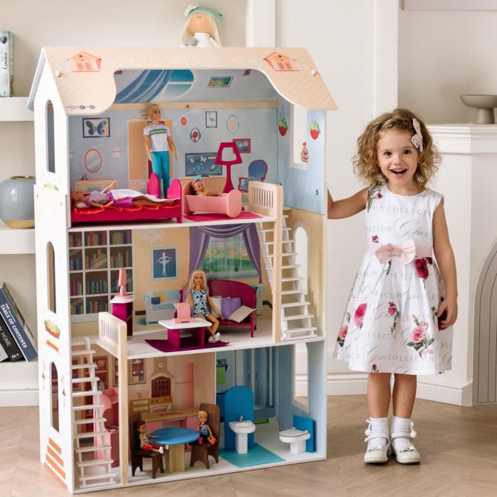 Paremo Кукольный домик для Барби ШармКукольный домик для Барби ШармКукольный домик Paremo для Барби Шарм - домик, выполненный в пастельном, максимально приближенном к натуральному древесному оттенку, бежевом цвете. Игрушку отличает насыщенный принт по дереву и использование премиального материала флок. Модификация: трехэтажный, четырехкомнатный, с 2-мя лестницами. Сделано в России!  Основные характеристики: Домик предназначен для девочек старше трехлетнего возраста Игрушка 100% деревянная, ни одного пластикового или картонного элемента в каркасе и мебели Игрушечный дом для кукол Вдохновение частично открытый (задняя стенка глухая, все игровые зоны с лицевой стороны полностью доступны для игры) Разработан специально для кукол высотой до 30 см (прекрасно подходит для Barbie, Winx, Moxie, Bratz, Sonya Rose и т.д.) Размеры домика Шарм в собранном виде (ДхГхВ): 82 х 33 х 120 см. Вес игрушки: 14.2 кг. В комплекте: 16 предметов мебели. В данной модификации дома – 2 лестницы, полностью деревянные с использованием премиального материала флока в качестве внешнего покрытия. Для декорирования интерьеров используется инновационная технология нанесения рисунка на дерево, которую технологи PAREMO внедрили в производство данной категории игрушек первыми в России.  Упаковка: транспортная картонная коробка  ВНИМАНИЕ: куклы, игрушечные питомцы и текстиль приобретается отдельно!<br>