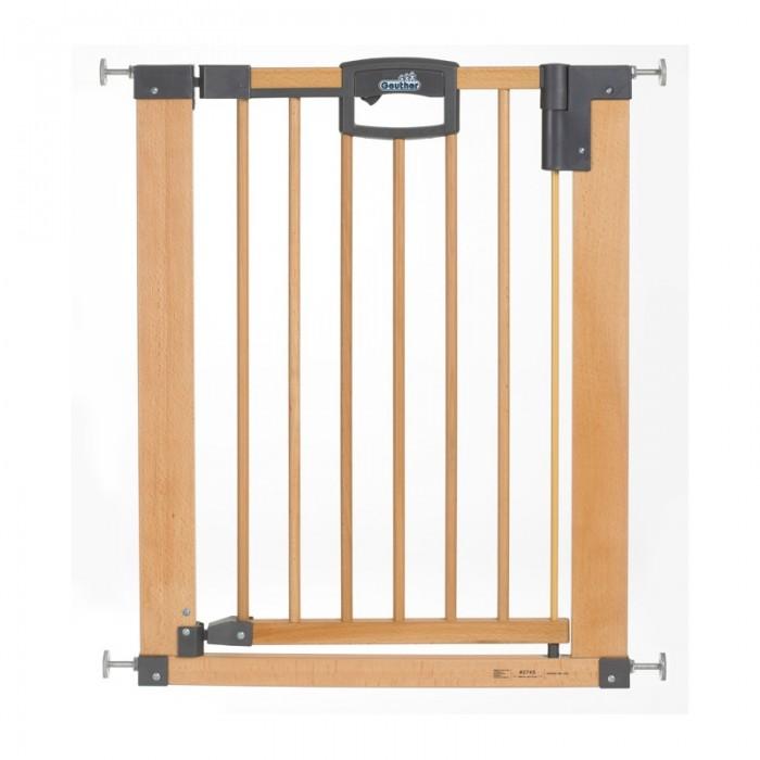 Geuther Ворота EasyLock Natural 80,5-88,5 смВорота EasyLock Natural 80,5-88,5 смВорота безопасности Geuther Easylock Natur, подходят для проемов 80,5 - 88,5 см, высота 82,5 см.  - уникальный защитный механизм позволит взрослому легко пройти через ворота, создавая в то же время непреодолимое препятствие для малыша;  - открывается в обоих направлениях;  - для удобства перемещения ворота оснащены специальным порогом с защитой от скольжения;  - если Вам нужно переместить ворота в другой дверной проём по мере роста ребёнка, Вы можете сделать это без ущерба для ремонта в квартире или доме;  - изготовлены из алюминия и дерева высочайшего качества.   В комплекте:  - крепление к стене;  - зажим к лестнице.<br>