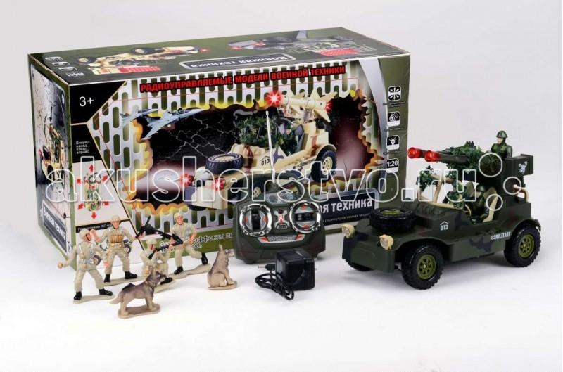 Tongde Машинка военная на Р/У с набором солдат В72192Машинка военная на Р/У с набором солдат В72192Игрушка TongDe В72192 на радиоуправлении Военная техника Джип с зенитной установкой и солдатиками - полнофункциональная модель, выполненная в масштабе 1:20. Машинка двигается вперёд и назад, поворачивает влево и вправо, а также преодолевает подъёмы в 30 градусов. Более интересной игру делает набор солдатиков с собаками - можно устраивать настоящий бой или осуществлять поиск вражеских диверсантов с помощью джипа. Кроме того, игрушка обладает звуковыми (звуки выстрелов и шум мотора) и световыми (свет фар и подсветка пушек) эффектами. Пульт имеет радиус действия в помещении 15 метров, а на открытом пространстве - 30 метров. Требуются 2 батарейки 1,5V (в комплект не входят).  Комплектация:   машинка с экипажем  пульт управления  аккумулятор 4,8V  зарядное устройство  4 фигурки солдатиков и 2 фигурки собак   Особенности:  Размеры упаковки: 50,5х28х22 см Вес: 2.833 кг Объем: 0.0354259<br>