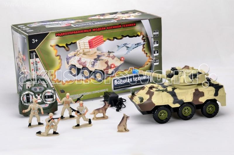Tongde Транспортер на Р/У с набором солдат В72197Транспортер на Р/У с набором солдат В72197Игрушка TongDe В72197 на радиоуправлении Военная техника Колёсный танк с солдатиками - полнофункциональная модель, выполненная в масштабе 1:20. Машинка двигается вперёд и назад, поворачивает влево и вправо, а также преодолевает подъёмы в 30 градусов. Более интересной игру делает набор солдатиков с собаками - можно устраивать настоящий бой или осуществлять поиск вражеских диверсантов с помощью джипа. Кроме того, игрушка обладает звуковыми (звуки выстрелов и шум мотора) и световыми (свет фар и подсветка ракеты) эффектами. Требуются 2 батарейки 1,5V (в комплект не входят).  Комплектация:   машинка с экипажем  пульт управления  аккумулятор 4,8V  зарядное устройство  4 фигурки солдатиков и 2 фигурки собак.  Особенности:  Размеры упаковки: 51х26,8х21,7 см Вес: 3 кг Объем: 0.0342043<br>