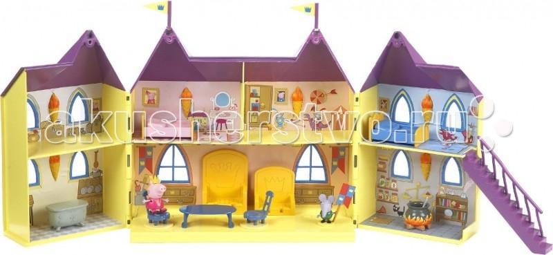 Свинка Пеппа (Peppa Pig) Кукольный домик Замок ПеппыКукольный домик Замок ПеппыPeppа Pig Игровой набор Замок Пеппы – это большой двухэтажный дом, в котором 7 комнат.   Особенности: На первом этаже – тронный зал, кухня и комната для зельеварения, а на втором – две спальни (Пеппы и Джорджа), гардеробная и комната для сокровищ.  Наклейки на стенах и полу прекрасно передают интерьер замка, который оживляется очаровательной игрушечной мебелью.  Домик имеет 10 вырезанных окошек, его внешние стенки украшены объемными кирпичиками и вьющимся растением, крыша с двумя пластиковыми флагами покрыта выпуклой черепицей. Фигурки могут сидеть, стоять, двигать ручками и ножками. Замок складывается и закрывается на крючок.  Игрушки изготовлены из безопасного пластика.  Товар сертифицирован.  Упаковка – красивая подарочная коробка.  В комплекте 13 предметов:  домик размером 63х29х6 см в разложенном виде  2 фигурки (Пеппа (6 см) со съемной короной стражник (5 см) с флагом) лестница, котел для зелья мебель (2 кроватки с подушками, 2 трона для короля и королевы, стол, 2 стула, тумбочка).<br>