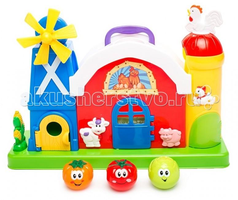 Развивающая игрушка Kiddieland Ферма с мельницейФерма с мельницейРазвивающая игрушка Kiddieland Ферма с мельницей - со звуковыми эффектами, приглашает в гости. Тут столько всего интересного и познавательного! Здесь расположились забавные животные, которые открывают дверцы фермы с одним нажатием кнопки. А еще на ферме есть забавные мячики в виде овощей.  С этим замечательным развивающим центром малыш точно не заскучает и прекрасно проведет время.<br>