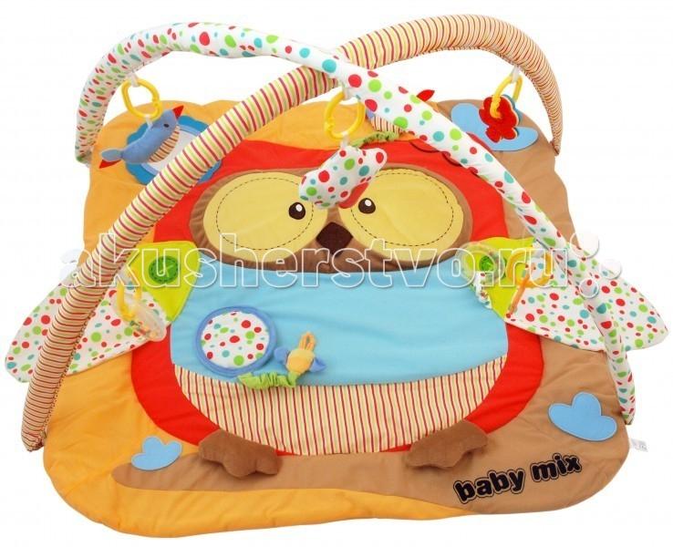 Развивающий коврик Baby Mix СоваСоваРазвивающий коврик Сова - это целая игровая площадка, в которой есть все необходимое для занимательной игры и развития малыша. Он будет интересен как совсем маленьким крошкам, так и подросшим карапузам. Яркие тона игрового поля, красочные подвесные игрушки - вот те особенности, которые привлекают внимание ребенка.  Особенности: довольно большое игровое поле на игровом поле есть несколько разнотекстурных элементов безопасное зеркальце в мягкой оправе кроха учится фокусировать взгляд на предмете малыш учится удерживать в руках предметы ребенок получает знания о пространственном положении вещей мелкие детали и разнофактурные элементы стимулируют развитие мелкой моторики и тактильного восприятия яркие тона стимулируют развитие зрения<br>
