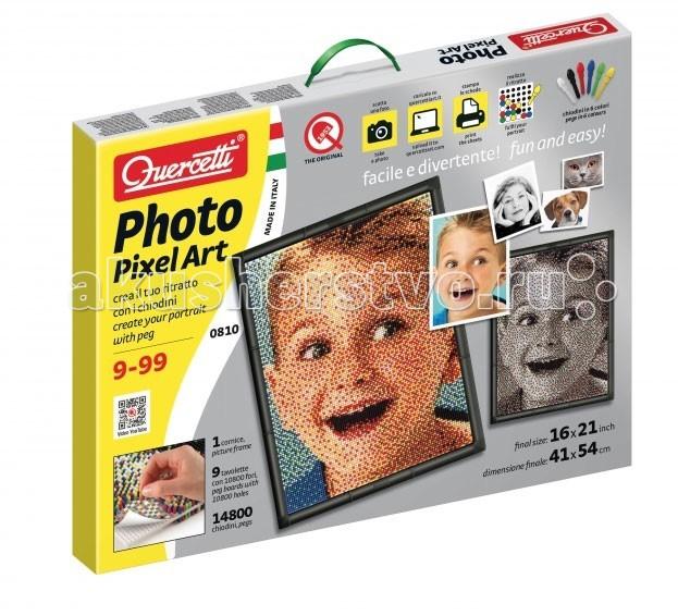 Quercetti Пиксельная мозаика серии ФотоПиксельная мозаика серии ФотоQuercetti Пиксельная мозаика серии Фото - c помощью этого уникального набора вы сможете создать любое изображение, используя знаменитые фирменные детальки Quercetti.  Вам нужно: просто выбрать фото, которые вы хотите сделать основой мозаики, зайти на вебсайт, указанный в инструкции, загрузить фото, получить специальным образом обработанные для мозаики листы и поместить их на доску. Можно начинать собирать мозаику  В набор входит: 14800 деталей 6-ти цветов(белых 2800 шт,красных 3000 шт,черных 3000шт,синих 3000 шт,зеленых 1400 шт,желтых 1600 шт). Мозаику можно собирать компанией,т.к состоит из 9 соединяющихся фрагментов, 1 рамки, 9 шаблонов карт, 1 плаката.<br>