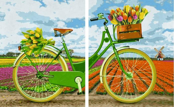 Schipper Картина по номерам Диптрих Голландский велосипед 80х50 смКартина по номерам Диптрих Голландский велосипед 80х50 смКартина по номерам Диптрих Голландский велосипед 80х50 см - это превосходный выбор для юного художника! С этим набором ваш ребенок сможет самостоятельно нарисовать шедевр, который затем можно будет гордо показывать вашим гостям! И все это - совсем нетрудно, ведь при работе с набором используется уникальная система, разработанная немецкой фирмой Schipper.   Раскраски развивают в ребенке творческие способности, малыш учится рисовать, стремится к прекрасному, может проявить фантазию, сочетая разные оттенки между собой.   Особенности:   Готовая картина выглядит как настоящее произведение искусства.  Картина раскрашивается без смешивания красок.  Все необходимые цвета красок есть в комплекте. Просто закрашивайте участки красками с соответствующим номером.  В набор также входит фактурная картонная основа с пронумерованными контурами, кисть и контрольный лист, на котором вы можете потренироваться, прежде чем переходить к раскрашиванию основного листа.  Акриловые краски в данном наборе содержатся в очень плотно закрытых контейнерах. Благодаря этому, краски доходят до покупателя, сохранив свои свойства.  Размер: 80х50 см<br>