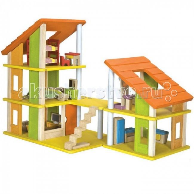Plan Toys Кукольный домик Шале с мебелью k7602Кукольный домик Шале с мебелью k7602Plan Toys Кукольный домик Шале с мебелью k7602. Просторный деревянный домик для кукол со множеством игровых элементов и деталей интерьера - прекрасная основа для сюжетно-ролевой игры ребенка.   В комплект входит: 5 комплектов современной мебели.  Домик состоит из двух основных частей, которые можно располагать так, как захочется малышу. Одна часть имеет 3 этажа, другая 2. Обе части домика имеют 2 больших окошка в крыше, что позволит ребенку наблюдать за своими куколками. Две переносные лестницы можно расставлять так, как удобно.   На первом этаже, гостиная и кухня, второй этаж содержит спальня и уборная родителей, на третьем этаже - двухуровневая спальня для малышей, парта со стульчиком.<br>