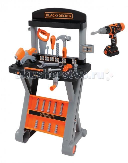 Smoby Ремонтная мастерская B&amp;D + дрельРемонтная мастерская B&amp;D + дрельИгровой набор, выполненный в лаконичном брутальном дизайне, предназначен для воспитания настоящих мастеров.   Мастерская представляет собой компактный верстак на устойчивых ножках, на котором удобно и доступно расположены необходимые для ремонта предметы: игрушечная пила, молоток, гаечные ключи, шурупы и прочее.   Все инструменты выполнены с особой тщательностью и вниманием к деталям, их удобно и приятно держать в руке.   В комплекте также имеется дрель, которая может даже крутиться при нажатии на кнопку пуска.   Комплект: ремонтный верстак, аксессуары. Размер игрушки: 33 х 43 х 78 см. Высота: 78 см.<br>