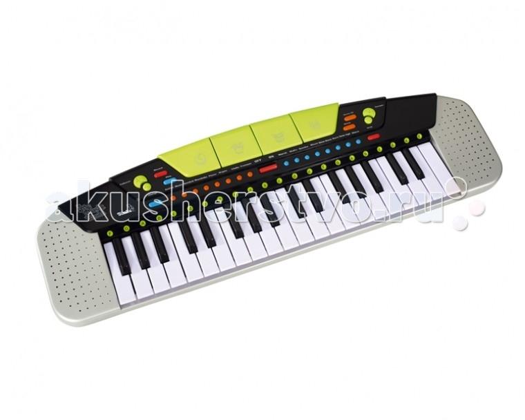Музыкальная игрушка Simba Электросинтезатор 37 клавишЭлектросинтезатор 37 клавишЭлектросинтезатор от компании Simba - это детское пианино для начинающего музыканта, с его помощью можно создавать настоящие музыкальные шедевры, ведь в нем столько разных звуков, тонов и ритмов. Этот красочный инструмент, совсем как настоящий взрослый синтезатор, способен воспроизвести полную октаву звуков. Электросинтезатор позволяет не только слушать различные ритмы, мелодии и звуки, но и самостоятельно сочинять и записывать свои собственные произведения для разных музыкальных инструментов.  клавиатура состоит из 37 клавиш можно менять ритмы сопровождения: рок, самба, диско, блюз и т.д. (всего 8 ритмов) клавиши воспроизводят звуки 8 музыкальных инструментов (духовых, струнных, клавишных и т.д.) можно регулировать темп и громкость звучания; - готовые мелодии Вы можете записать и прослушать, что получилось у Вашего ребенка! Есть функция записи любые звуки или мелодии можно остановить кнопкой STOP, и начинать придумывать новую композицию.   Особенности: Звуковые эффекты Количество клавиш: 37 Регулировка громкости Регулировка темпа Функция записи Батарейки есть Вес: 0.9 кг 8 демо-песен.  Электросинтезатор способствует развитию слуха у малышей, чувства ритма, музыкальной памяти, творческого и логического мышления, речи и навыков общения, эмоционального восприятия музыки, формирования основ музыкальной импровизации, а также развивает координацию, крупную и мелкую моторику, слаженность и точность движений рук, знакомит с основами нотной грамотности. Приобщите своего ребенка к музыке с ранних лет.  Размер упаковки: 69 см x 20 см x 7 см. Размер синтезатора: 63 см x 18 см x 6 см.  Необходимо докупить 6 батарей типа AA (не входят в комплект).<br>