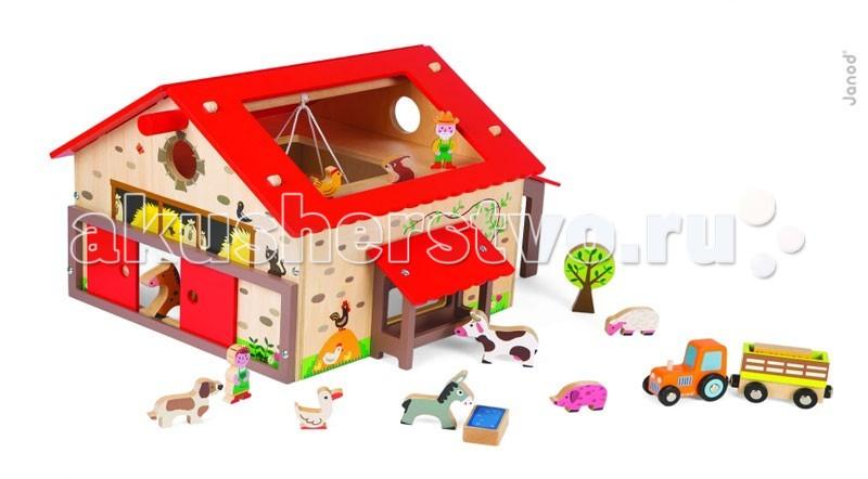 Деревянные игрушки Janod Веселая ферма 19 аксессуаров