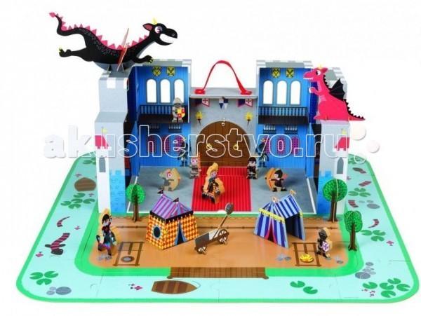 Деревянная игрушка Janod Замок принца 16 пазлов 18 аксессуаровЗамок принца 16 пазлов 18 аксессуаровДеревянная игрушка Janod Замок принца 16 пазлов 18 аксессуаров. У каждого принца есть собственное королевство, в котором он следит за порядком и гонит прочь нападающих на него врагов. Французский бренд Janod представляет вашему вниманию настоящий замок для юного рыцаря. В наборе кроха найдет все необходимые для обстановки и защиты своей территории от злых драконов аксессуары. Принц, лучники, стража и лошади изготовлены из дерева, остальные элементы для обстановки и укрепления дворца – прочный картон. Подобный подарок понравится каждому мальчонке, и он проведет много сказочных мгновений, играя в своем королевстве.   В комплекте:  замок Принц лучники  стража  лошади аксессуары.<br>