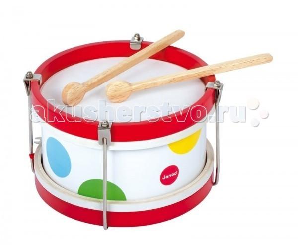Музыкальная игрушка Janod музыкальная Барабанмузыкальная БарабанДеревянная игрушка Janod музыкальная Барабан. Музыкальный барабан – игрушка, от которой ваш ребенок будет в восторге. Он имеет оригинальный дизайн и веселую приятную расцветку, на белом фоне расположены яркие разноцветные кружочки в виде конфетти.   Если Вы решите купить игрушку Барабан, то должны быть готовы к тому, что малыш поначалу будет испытывать Ваше терпение, просто стуча по инструменту. Со временем ребенок с Вашей помощью научится выбивать ритм, что очень способствует развитию музыкального слуха.<br>