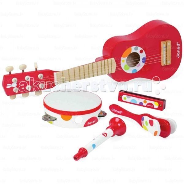 Музыкальная игрушка Janod Набор красных музыкальных инструментов - гитара, бубен, губная гармошка, дудочка, трещоткаНабор красных музыкальных инструментов - гитара, бубен, губная гармошка, дудочка, трещоткаДеревянная игрушка Janod Набор красных музыкальных инструментов - гитара, бубен, губная гармошка, дудочка, трещотка. Давно известно, что музыка вырабатывает в людях чувство гармонии, вызывает новые эмоции и чувства, успокаивающе влияет на детскую психику.   Чувство ритма и слух лучше начать развивать в ребёнке с самого детства.   Все инструменты окрашены натуральными, безопасными красителями.<br>