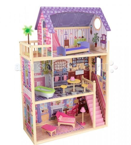 KidKraft Домик из дерева для кукол 30 см с мебелью КайлаДомик из дерева для кукол 30 см с мебелью КайлаKidKraft Домик из дерева для кукол 30 см с мебелью Кайла (Kayla dollhouse). Внешний вид кукольного домика заставляет задуматься о спокойном и веселом отдыхе у моря в кругу семьи.   В доме мечты четыре комнаты, каждая из которых отличается от предыдущей. На первом этаже устроена одна большая гостиная с камином. На втором располагаются две комнаты - кухня и ванная. А на третьем самая важная комната - спальня. Первый и второй этажи соединены между собой маленькой лестницей, вписывающейся в общую картину цветовой гаммы.   В комплектацию дополнительно входят десять дополнительных мебельных аксессуаров. В гостиной – красивый розовый гарнитур, который состоит из софы, небольшого стола и торшера. На кухне - желтый стол круглой формы и два таких же стула и десерт в виде торта с кремом. В комнате для купания – светлая ванна. А в спальне, из которой можно попасть на балкон, располагается мягкая кровать в сиреневых тонах. Вашему ребенку самому захочется жить в таком доме.   В наборе: 3-х этажный домик  10 предметов интерьера  инструкция по сборке.<br>