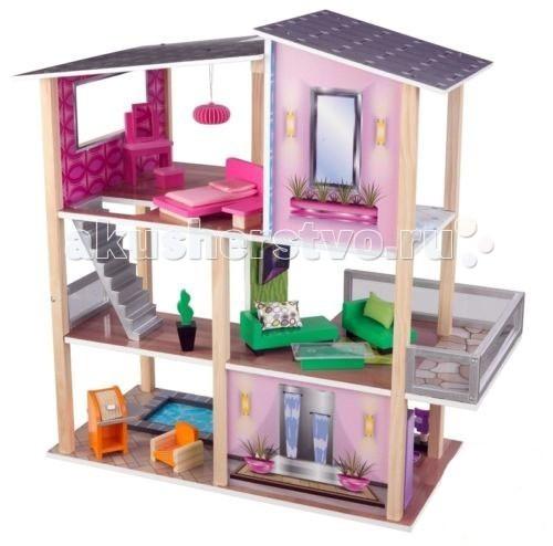 KidKraft Домик для мини-кукол Стильный коттеджДомик для мини-кукол Стильный коттеджKidKraft Домик для мини-кукол Стильный коттедж не ограничен внешними стенами, он полностью открыт. Перегородки присутствуют только внутри. Сразу нескольким детям будет интересно поиграть с такой конструкцией.   Коттедж трехэтажный на пять замечательных комнат. На первом этаже располагается кухня, рядом с которой голубой прозрачный бассейн. Второй этаж полностью занят одной просторной гостиной комнатой. На последнем - находится туалетная комната и спальня. Перемещаться с одного этажа на последующий можно по двум лестницам.   Интерьер декорирован в стиле хай-тек. Обилие ярких цветов и теплых полутонов впечатлит маленькую хозяйку кукольного домика.   В наборе: коттедж 20 предметов мебели  инструкция. Подходит для кукол которые имеют размер приблизительно 12,5 см<br>
