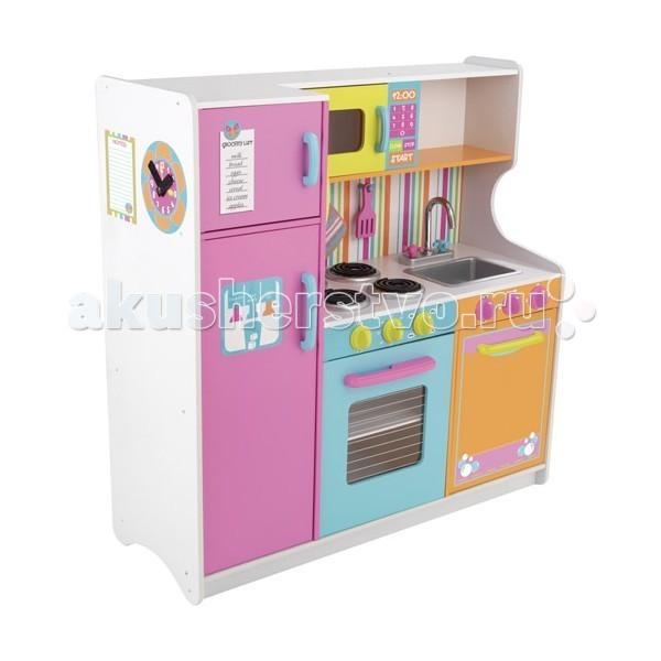KidKraft Большая детская игровая кухня Делюкс (Deluxe Big &amp; Bright Kitchen)Большая детская игровая кухня Делюкс (Deluxe Big &amp; Bright Kitchen)KidKraft Большая детская игровая кухня Делюкс (Deluxe Big & Bright Kitchen). Представленная модель вполне функциональна и отличается яркостью цветов.   В комплекте имеется холодильник, микроволновая печь, газовая плита, раковина и место для хранения кухонной посуды. Вся мебель с открывающимися дверцами, плита и микроволновка снабжены прозрачными дверками. Раковина на мойке съемная.   На кухне есть дополнительные игровые детали – это телефонная трубка, доска для записей, половник, лопаточка и тканевая прихватка.   У детской кухни нет интерактивных свойств. Посуда, которая представлена на фотографиях, не идет в комплектации к кухне Делюкс.<br>