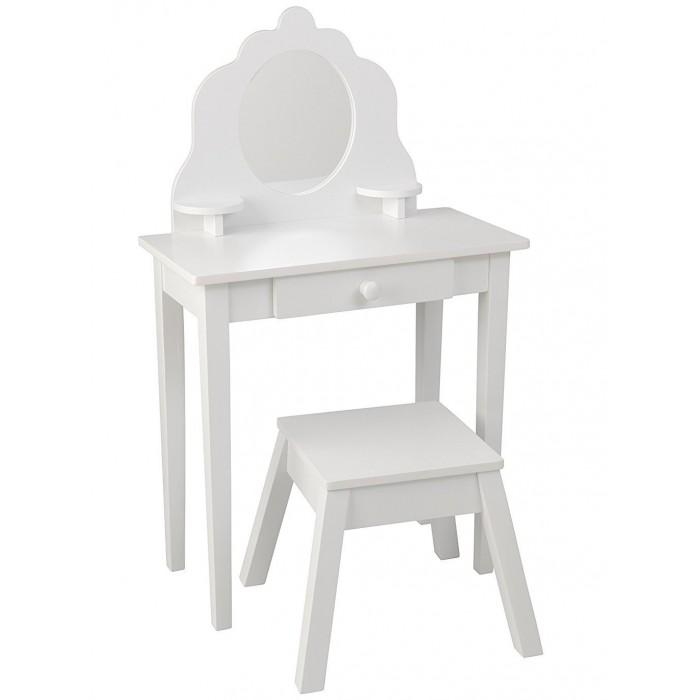 KidKraft Туалетный столик из дерева для девочки Модница (White Medium Vanity &amp; Stool)Туалетный столик из дерева для девочки Модница (White Medium Vanity &amp; Stool)KidKraft Белый туалетный столик из дерева для девочки Модница (White Medium Vanity & Stool). Далеко не каждый детский туалетный столик может сравниться по изяществу с данной моделью. Простой, но в то же время романтичный дизайн разработан специально для того, чтобы развивать у маленьких девочек хороший вкус и чувство прекрасного. А нейтральный и немного торжественный белый цвет будет уместен в любом интерьере.   Деревянный стол очень красиво смотрится!   В комплекте: деревянный стул круглое зеркало из плексигласа (для безопасности) большой центральный ящик 2 полки для хранения небольших сокровищ подробная инструкция по сборке.<br>