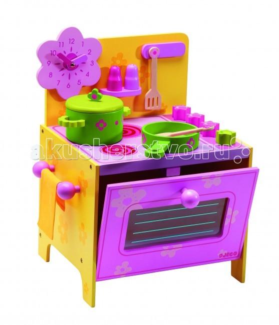 Djeco Кухня-плита ДезиКухня-плита ДезиДеревянная игрушка Djeco Кухня-плита Дези Розовая - очень компактная, поэтому особенно популярна в качестве первой игрушки-кухни в арсенале маленьких хозяюшек.  Основные характеристики: игрушка включает 2 ключевых элемента кухонной техники – плиту и духовой шкаф аксессуары, входящие в комплект, размещаются на задней стенке кухни или на плите духовой шкаф открывает выключатели комфорок поворачиваются слева предусмотрен держатель для кухонного полотенца на задней стенке над плитой расположена полочка для специй, крючки для ложек-лопаток, а также предусмотрено место для красивых настенных часов. В комплекте: кухня часы в форме розового цветка кастрюля с крышкой сковорода кухонные ложка и лопатка 2 баночки для специй. Размеры кухни: 35 x 37 x 28 см<br>