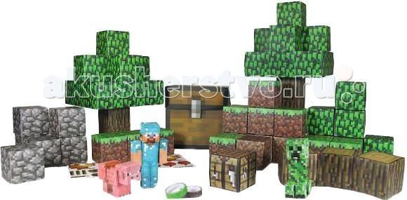 Конструктор Minecraft из бумаги Большой набор Делюкс 90 деталейиз бумаги Большой набор Делюкс 90 деталейКонструктор Minecraft из бумаги Большой набор Делюкс 90 деталей. Миллионы игроков по всему миру изучают просторы кубических миров, возводят невероятные сооружения и пытаются выжить среди многочисленных монстриков. Фанаты умудряются воплотить в виртуальном мира целые города и знаковые достопримечательности, составляя их из отдельных элементов, словно в конструкторе.   Теперь вы можете перенести мир Minecraft в реальную жизнь вместе с этим замечательным бумажным конструктором! В него включено более 90 деталей, из которых можно построить обстоятельный участок наземного мира с фигурками Алмазного Стива, дружелюбного и враждебного мобов.  В наборе есть бумажные детали для постройки деревьев, камней, почвы, есть ящики, инструменты и многие другие важные аксессуары. Дизайн всего конструктора выполнен в точном соответствии игровой графике. Постройте свой собственный игровой наземный мир из любимой компьютерной игры!  Детали игры выдавливаются из листа и собираются между собой, что помогает развитию логики и моторики.<br>