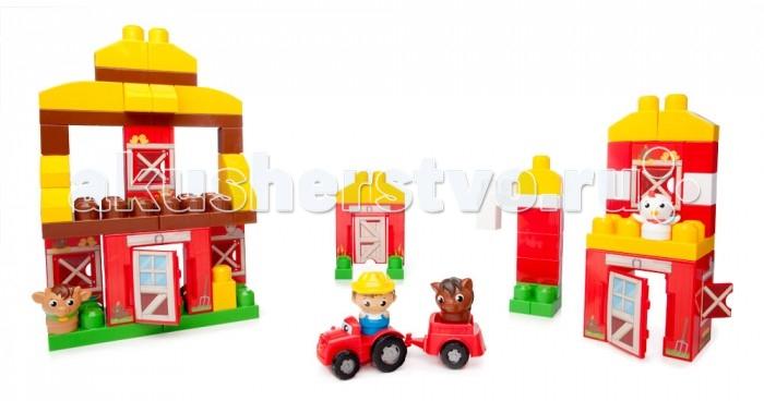 Конструктор Mega Bloks Mattel First Builders Веселая ферма (70 деталей)Mattel First Builders Веселая ферма (70 деталей)Ваш маленький фермер проведет отличный день в деревне с набором «Веселая ферма» серии First Builders от Mega Bloks! Благодаря наличию восьми блоков-панелей ваш малыш сможет быстрее строить более высокие здания, используя блоки First Builders, и переставлять панели, каждый раз перестраивая ферму по-новому.   Блоки с узором позволяют создать живую сцену жизни на ферме с сараем, конюшней, курятником и многим другим. Открывайте двери и окна, чтобы фермер Farmer Block Buddy™ мог заглянуть через них, или отправьте его прокатиться по полям на красном тракторе. А если ему потребуется помощь в работе, дружелюбные корова, лошадь и курица Block Buddies™ будут счастливы помочь!  Идеально подходит для детей в возрасте от 1 до 5 лет  Описание: Набор «Веселая ферма» из восьми панелей позволяет детям, которым нравится строить высокие здания, собрать ферму высотой до метра. 70 деталей, включая фигурки Farmer, Cow, Horse и Chicken Block Buddies™, блоки First Builders и трактор. Панели можно переставлять во время сборки и перестройки. Удобно для маленьких детских рук. Совместим с другими наборами серии First Builders.<br>