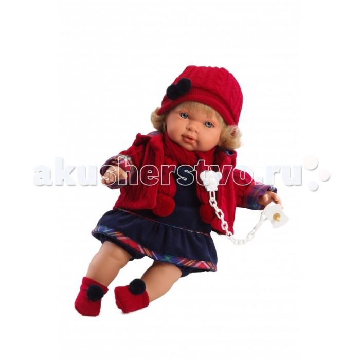 Llorens Кукла Марина 42 см L 42118Кукла Марина 42 см L 42118Llorens Марина 42 см - эта кукла станет отличным подарком для вашей дочки, будет лучшей подругой или дочкой. Оригинальная кукла, которая очень похожа на настоящего малыша.   Кукла Марина 42 см умеет плакать и говорить «мама», «папа». К кукле прилагается соска. Если вынуть соску изо рта куклы, то она начинает плакать. Для того чтобы она перестала плакать: поместите соску в рот куклы.  Ручки и ножки сделаны из плотного ПВХ, тело мягконабивное. Голова, ручки и ножки подвижны. Все звуки можно отключить.   В комплекте: кукла в одежде, соска-пустышка с цепочкой.  Перед эксплуатацией куклы расстегните на спинке одежду и удалите защитную пластину. Кукла работает на 3 батарейках AG13/LR44 (входят в комплект). Батарейный отсек расположен на спине куклы. Для замены батареек расстегните одежду на спинке куклы, с помощью крестовой отвертки откройте батарейный отсек, замените батарейки, закройте крышку батарейного отсека.  Упаковка - подарочная коробка.<br>