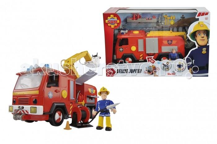 Simba Пожарный Сэм Машина со звукомПожарный Сэм Машина со звукомSimba Пожарный Сэм Пожарный гараж, обязательно понравится вашему малышу и займет его внимание надолго.  Особенности:  Звук сирены и свет мигалок включаются нажатием одной кнопки.  На подъемном механизме установлена водяная пушка, которая брызгает настоящей водой (вода заливается в специальный отсек).  У машины открываются двери кабины и дверцы шкафчиков, в которых лежит пожарный инвентарь.  Спереди машина оснащена лебедкой с крюком. В комплект так же входит фигурка пожарного Сэма. Требуются батарейки 3x 1,5V LR06 (АА), входят в комплект. Длина игрушки: 28 см Размер коробки: 38 х 24 х 15 см<br>