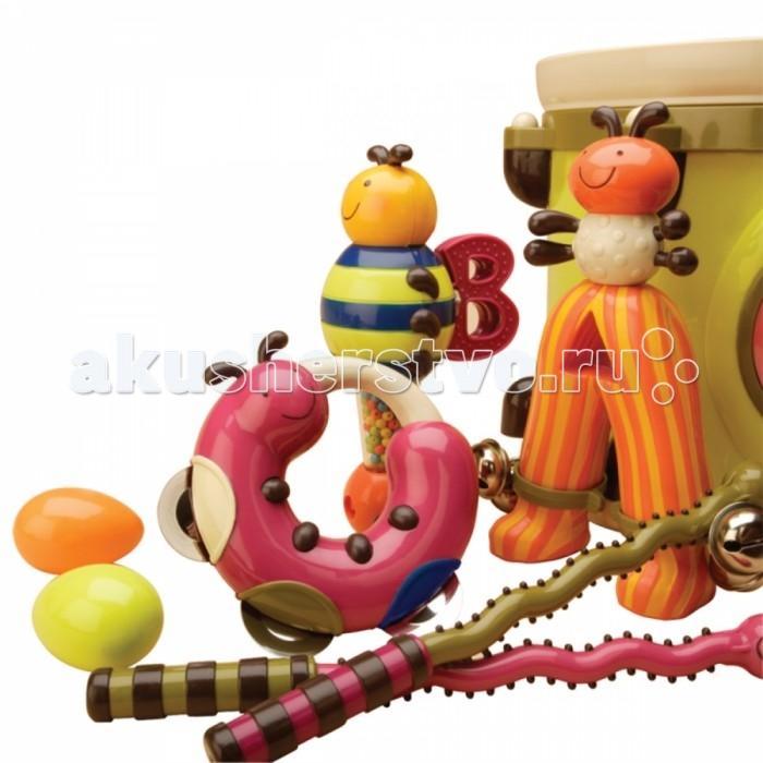 Погремушка Battat B.Dot БарабанB.Dot БарабанBattat B.Dot Барабан с погремушками.  8 музыкальных инструментов готовы к параду! Вместительный барабан с удобной большой ручкой и ремешком, барабанные палочки в виде сороконожек, погремушки-муравьи, бубен в виде гусеницы, погремушка и трещетка в виде пчелы и др.  В наборе: Вместительный барабан с удобной большой ручкой и ремешок для маленьких детских ручек Барабанные палочки в виде веселых сороконожек Погремушки-муравьи Погремушка и трещотка в виде пчелки Бубен в виде гусеницы Две погремушки в виде яйца.<br>