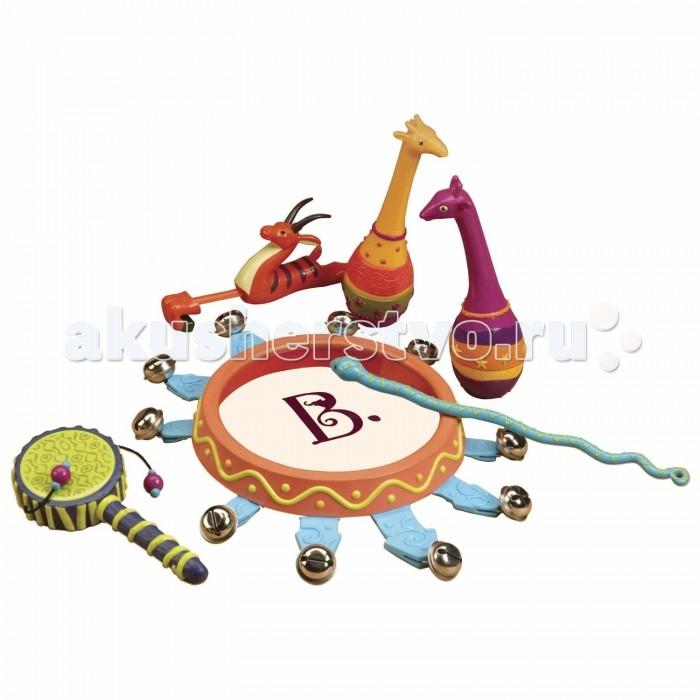 Музыкальная игрушка Battat B.Dot Набор Мелодия джунглейB.Dot Набор Мелодия джунглейBattat B.Dot Набор погремушек Мелодия джунглей.  Набор погремушек Мелодия джунглей - это коллекция оригинальных музыкальных инструментов, предназначенная для детей от 2-х лет. Яркие и звонкие, они, без сомнения, понравятся любому малышу и доставят ему множество радостных эмоций. Каждый из шести инструментов – удачная стилизация, отсылающая нас в таинственный и загадочный мир экзотических джунглей.   Пара маракасов замаскировалась под двух забавных жирафов. Стремительная антилопа – не что иное, как заливистый свисток. Барабанная палочка приняла форму искусителя змея. Звонкий бубен с десятью колокольчиками напоминает жаркое тропическое солнце. А миниатюрный ручной барабан похож на увитую лианой ветку экзотического дерева. В комплекте с набором идет компактная сумочка, идеально подходящая для хранения и транспортировки погремушек.<br>