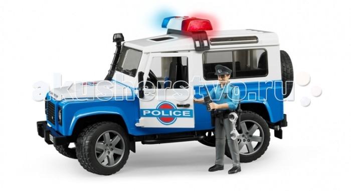 Bruder Внедорожник Land Rover Defender Station Wagon Полиция с фигуркойВнедорожник Land Rover Defender Station Wagon Полиция с фигуркойВнедорожник Land Rover Defender Station Wagon «Полиция с фигуркой» – первоклассный подарок для детей от 3 до 7 лет. Эта копия настоящего джипа, выполненная в масштабе 1:16, порадует всех юных коллекционеров прототипов машин. Приятной особенностью этого набора является наличие фигурки полицейского, которая идеально помещается в джип. Фигурка сделает игру ребенка реалистичнее и интереснее.  Описание джипа: багажник на крыше, свободно открывающиеся капот (фиксируется на рычаге), боковая выхлопная труба, 4 открывающиеся съёмные двери, съёмные задние сидения, фаркоп, запасное колесо, прорезиненные колёса, управление передними колёсами с помощью руля. На днище машинки закреплён дополнительный руль-рычаг, который позволяет управлять игрушкой, не держась за неё: просто установите его в специальный разъём через крышу джипа. На крыше расположена сирена (работает в 4 звуковых и 1 световом режимах), которую вы так же можете легко снять.  Описание фигурки: Подвижные руки и ноги, пазы на руках могут удерживать руль машинки и аксессуары (в наборе). Дополнительные аксессуары расположены на поясе фигурки полицейского и свободно снимаются: фонарь, рация, дубинка, наручники, кобура и пистолет.  Внедорожник Land Rover Defender Station Wagon «Полиция с фигуркой» приведет в восторг и мальчишек, и девочек. Удивите своего ребенка, вручите ему игрушку Bruder.  Игрушки Bruder – произведенные в Германии копии реальных автомобилей и специальной техники. Каждая машинка, прицеп, трактор, квадроцикл или погрузчик сделаны из высококачественной пластмассы ABS, все детали совершенно не отличаются от настоящих, качество и безопасность игрушек тщательно тестируются. Продукция сертифицирована, экологически безопасна для ребенка, использованные красители не токсичны и гипоаллергенны.<br>