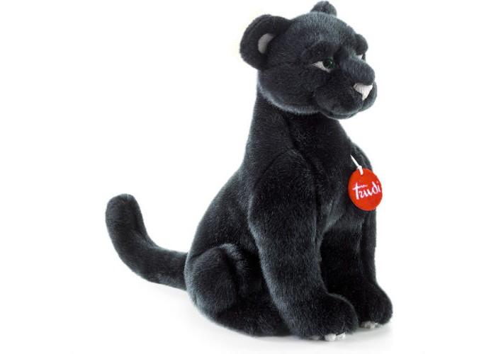 Мягкая игрушка Trudi Пантера Ирис 34 смПантера Ирис 34 смМягкая игрушка Trudi Пантера Ирис 34 см. Черная пантера - редкое, грациозное и гордое животное. Все мы помним опасную и бесстрашную пантеру Багиру из истории о Маугли. Но пантера Ирис от итальянской компании Trudi совершенно не выглядит опасным хищником.   Это добрый плюшевый зверь, чей мягкий черный мех и выразительные зеленые глаза не оставят равнодушным не только детей, но и представительниц прекрасного пола, для которых такая игрушка тоже станет отличным подарком.   Как и все мягкие игрушки Trudi, пантера Ирис изготовлена из экологичного гипоаллергенного материала, который можно стирать при температуре не выше 30 градусов.<br>