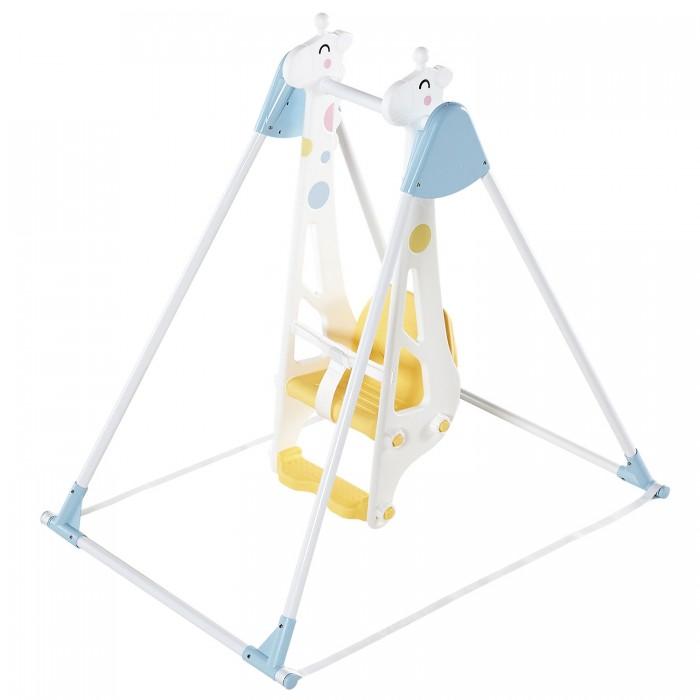 Качели Haenim Toy Жираф для одного ребенкаЖираф для одного ребенкаДетские качели с удобным пластиковым сидением - стульчиком, ремнем безопасности и упором для ножек.   Может использоваться как турник.   Легкие пластиковые качели Жираф станут любимым развлечением вашего малыша.  Конструкция устойчивая, крепкая, безопасная, и в то же время легкая и простая в сборке.  Металлические стойки турника помещены в пластиковые трубки.  Ножки имеют мягкие пластиковые основания.  Качели можно установить где угодно: дома, в комнате, на даче, у песочницы.  Возраст: от 1 года до 4-6 лет. Размеры: 1240х875х1200 мм. Размер упаковки: 1160х260х260 мм. Вес: 10,6 кг.<br>