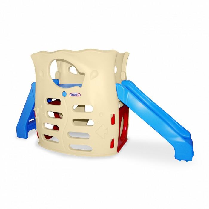 Haenim Toy Игровая зона с горкойИгровая зона с горкойИгровая зона Haenim toy с горкой станет любимым развлечением Вашего ребенка и его друзей.  Сборные стенки с отверстиями различной формы, держась за которые можно лазить и качаться, яркая расцветка, удобная лестница с широкими устойчивыми ступеньками отличительные особенности этой модели.  Ниша под горкой может стать тайным штабом или местом для новых игр.  Игровая зона Haenim toys сделана из прочной, нетоксичной пластмассы, не имеет острых углов, соответствует европейским требованиям безопасности и качества для детских товаров.  Для детей от 3-х лет. Размер: 2420х1010х1240 мм. Размер упаковки: 1180 х 620 х 1270 см. Вес: 35 кг.<br>
