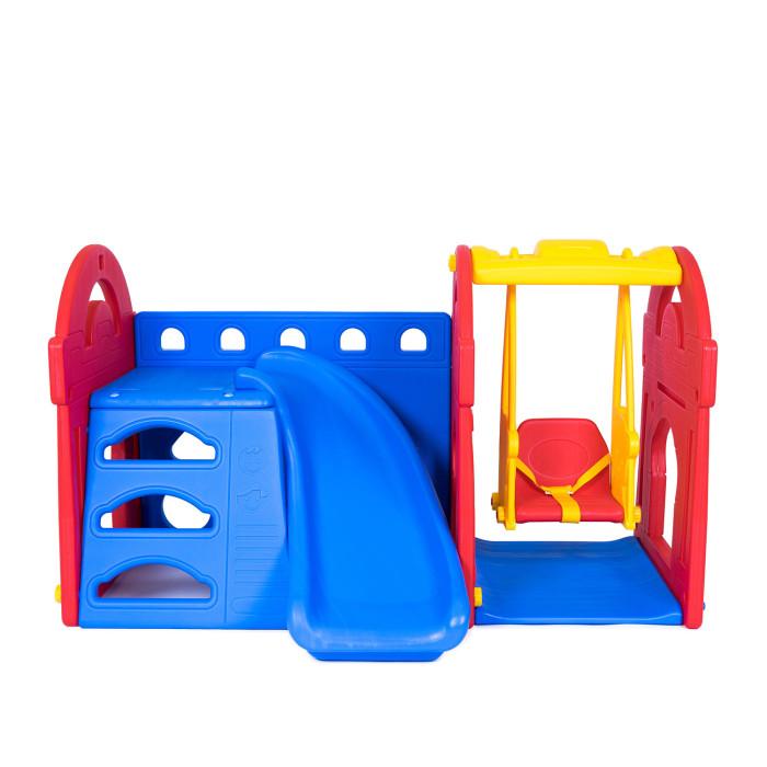 Haenim Toy Игровой центр Маленький замок с горкой + качелиИгровой центр Маленький замок с горкой + качелиИгровой комплекс Haenim toys включает в себя горку, качели и лазилку.  Одновременно играть могут 3 ребенка! Комплекс можно установить как в помещении, так и на улице. Его легко мыть и хранить - комплекс легко собирается и разбирается.  Возможно использовать горку без качелей, или наоборот. Комплекс изготовлен из высококачественной пластмассы и отвечает европейским требованиям качества и безопасности.  Возраст: от 2 лет. Размер: 170 x 100 x 101 см. Размер упаковки: 1200х410х800 мм.<br>