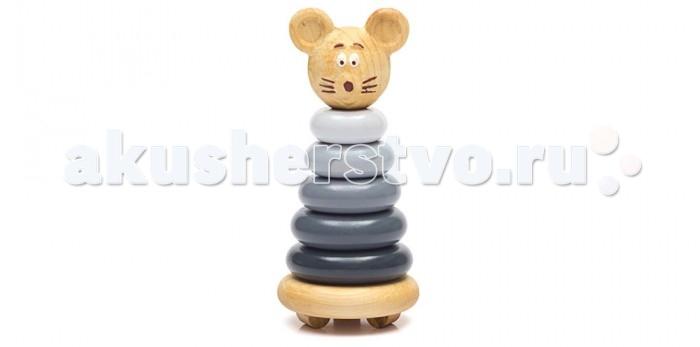 Деревянные игрушки Томик Пирамидка Мышонок 7 деталей томик пирамидка лягушонок