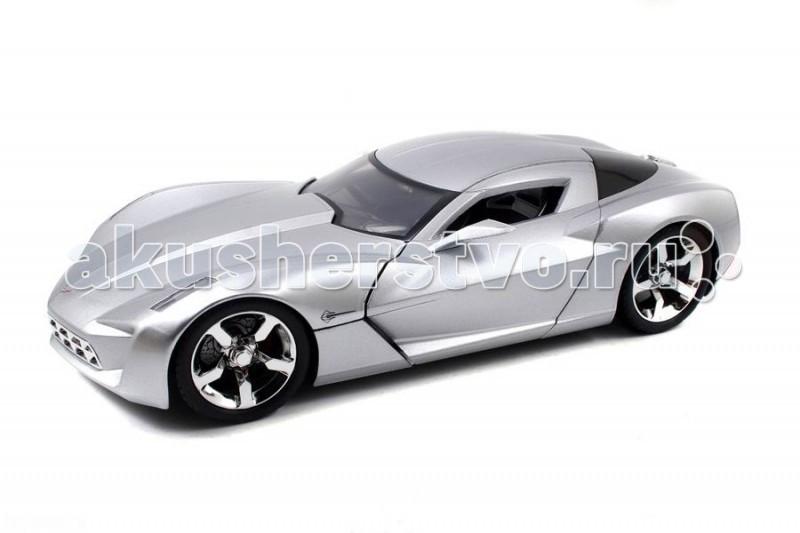 Jada Diekast Модель 2009 Corvette Stingray Concept - Glossy 1:18Diekast Модель 2009 Corvette Stingray Concept - Glossy 1:18Масштабная модель Jada Toys Diekast 2009 Corvette Stingray Concept - Glossy 1:18 - точная копия настоящего автомобиля c высокой степенью детализации, которая одинаково понравится как взрослому, так и ребенку.  Серия Collector`s Club - автомобили с уникальной раскраской и дизайном кузова. Каждая модель в таком внешнем оформлении выпускается Jada лишь однажды, ограниченным тиражом.  Игрушка выполнена из прочного металла с пластиковыми элементами и имеет открывающиеся двери, багажник и капот. Корпус сделан литьевым способом, что обеспечит высокую прочность и долговечность в использовании автомобиля, а также максимальную схожесть с прототипом.   Машинка станет хорошей игрушкой для ребенка и отличным дополнением к любой коллекции масштабных автомоделей.  Компания Jada Toys выпускает коллекционные модели автомобилей. Обладает лицензиями на производство тюнингованных моделей машин от известных мировых марок: Mercedes-Benz, Hammer, Ford, Chevrolet, Cadillac, Nissan, BMW, Mitsubishi, Mazda, Toyota, Volkswagen, Subaru, Lamborghini. Jada Toys имеет эксклюзивную лицензию на выпуск Chevrolet Camaro во всех масштабах, премию от компании Ford за дизайн и креативность моделей.<br>