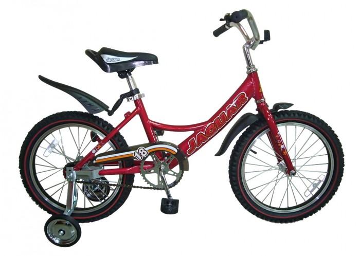 Велосипед двухколесный Jaguar MS-A182MS-A182Двухколесный велосипед Jaguar MS-182 Alu для детей от 5-ти до 8-ми лет  Характеристики: размер колеса: 18 дюймов алюминевая L-рама (AL 7005 уменьшает вес велосипеда) пневматические шины с крупным протектором регулируемое по высоте сиденье и руль ножной тормоз пластиковые крылья алюминиевые точеные обода, руль и вынос руля однокомпонентный кованый шатун пластиковая защита цепи (полностью закрыта цепь) приставные колеса светоотражающие катафоты цвета: рама - хром,cиний,красный,зеленый,розовый,белый  Размеры (дхшхв): 115 х 42 х 61 см Вес: 10,5 кг<br>