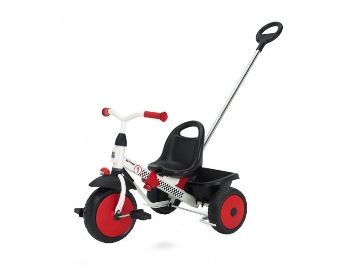 Велосипед трехколесный Kettler HappytrikeHappytrikeДетский велосипед Happytrike c высококачественной рамой из трубы с тунельным профилем, покрытой прочным невыгорающим полиэстеровым покрытием.  Особенности:  Рама раздвигается 4 раза (велосипед растёт с Вашим ребёнком) или разбирается на две части для удобной транспортировки в багажнике автомобиля. Предохранительная крышка в месте соединения руля с рамой. Есть возможность фиксации руля в среднем положении для удобства при толкании. Широкие колёса с декоративными дисками. Переднее колесо с возможностью отключения вращения педалей для безопасности ног ребёнка при толкании. Повышенная устойчивость за счёт низко посаженного центра тяжести. Сиденье с высокой спинкой. Ручной тормоз, действующий на оба задних колеса. Откидывающийся кузов с фиксатором. Делящаяся пополам ручка для толкания с возможностью регулировки высоты для подгонки под рост родителя Стабильные педали. Проверено немецкой технической комиссией T&#220;V, что и подтверждается значками и сертификатами T&#220;V/GS (проверенная безопасность). Для детей от 2 лет  Размер велосипеда: 63-75 см х 55 см х 51 см Вес: 8,5 кг Размер упаковки: 52 см х 56 см х 23 см<br>