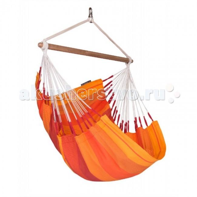 La Siesta Подвесное кресло OrqiudeaПодвесное кресло OrqiudeaКомфортный подвесной стул для всей семьи сделан из прочного экологически чистого хлопка. Планка из эвкалиптового дерева надежно фиксирует форму гамака.  Этот продукт произведен в Колумбии, где гамак является неотъемлемой частью ежедневной жизни.  Благодаря особой структуре и удвоению уточных нитей ткань, изготовленная из высококачественного хлопка, становится особо прочной, что гарантирует долгий срок службы, а закрытая система подвеса гарантирует безопасность.   Отдых в гамаке подарит особенное ощущение свободы и невесомости, позволит расслабиться, ощутить душевный комфорт и уют от ощущения кокона, которое дарит любой гамак, вне зависимости от конструкции.  Материал - хлопок. Чистый хлопок, безвредный для кожи, удобный материал, отличающийся особой прочностью и долговечностью. На его длинных волокнах краски играют особенно ярко.  Необходимая минимальная высота 200 см. Максимальная нагрузка 130 кг. Место для сидения: длина 180 см, ширина 105 см. Длина планки 110 см. Общая высота 155 см.  Стирка при температуре 30 гр.<br>