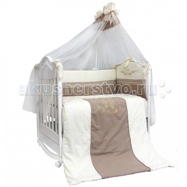 Комплект в кроватку Labeille Arabella (7 предметов)Arabella (7 предметов)Стильный дизайн, безопасные натуральные материалы, сочетание мягких и спокойных пастельных тонов – все это роскошный по дизайну и качеству комплект постельного белья в кроватку Arabella. Имеет приятную и красивую вышивку, гармоничную цветовую концепцию, совместно с непревзойденным качеством, является настоящей находкой, как для родителей, так и для малыша, открывающего для себя новый мир.   Все постельные принадлежности в комплекты выполнены из 100% хлопка, что гарантирует комфорт в повседневном использовании, безопасность для детской кожи и простоту в уходе. Симпатичные дизайнерские принты приживутся в любой детской. Все изделия приятны на ощупь, не деформируются и не потеряют яркость после стирки. В качестве наполнителя в одеяле, бортиках и подушке применяется Холлкон. Это уникальный материал. Он гипоаллергенен, не имеет запаха, не впитывает влагу, держит объем и форму, гораздо эффективнее других наполнителей. Нежный балдахин из мягкой вуали, украшенный бантом, создаст дополнительный уют и чувство защищенности.  Комплект состоит из 7 предметов: балдахин 1.7 х 4.0 м бампер защитный 3.6 х 0.4 м подушка 0.4 х 0.6 м наволочка 0.4 х 0.6 м простыня 0.98 х 1.45 м одеяло 1.08 х 1.42 м пододеяльник 1.08 х 1.45 м  Наполнитель: холлкон гипоаллергенный, всесезонный Материал: бязь<br>