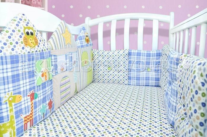 Бортик в кроватку Лапуляндия Бортики-домики для мальчика 120х60Бортики-домики для мальчика 120х60Лапуляндия Бортики-домики для мальчика 120х60 помогут создать уютную и чудесную атмосферу в кроватке новорожденного. Бортики обеспечат Вашему малышу безопасный и комфортный сон.  В комплекте: Один большой борт, состоящий из 4-х домиков.  Два бортика коротких с двойными подушками с пуговицами.  Один большой борт, состоящий из четырех подушек с пуговицами.  Домики имеют съемные чехлы. Подушки с пуговицами стираются целиком.  Бортики подходят как для прямоугольной кроватки, так и для овальной.  Размеры: Домики: высота 45 см, толщина 3 см, ширина 120 см. короткие бортики: высота 30 см, толщина 3см, ширина 60 см. большой бортик: высота 30 см, толщина 3см, ширина 120 см.<br>